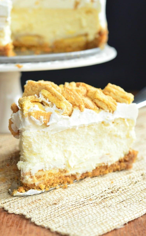 a slice of Lemon Oreo Cheesecake