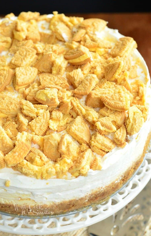 Lemon Oreo Cheesecake with crushed oreas on top
