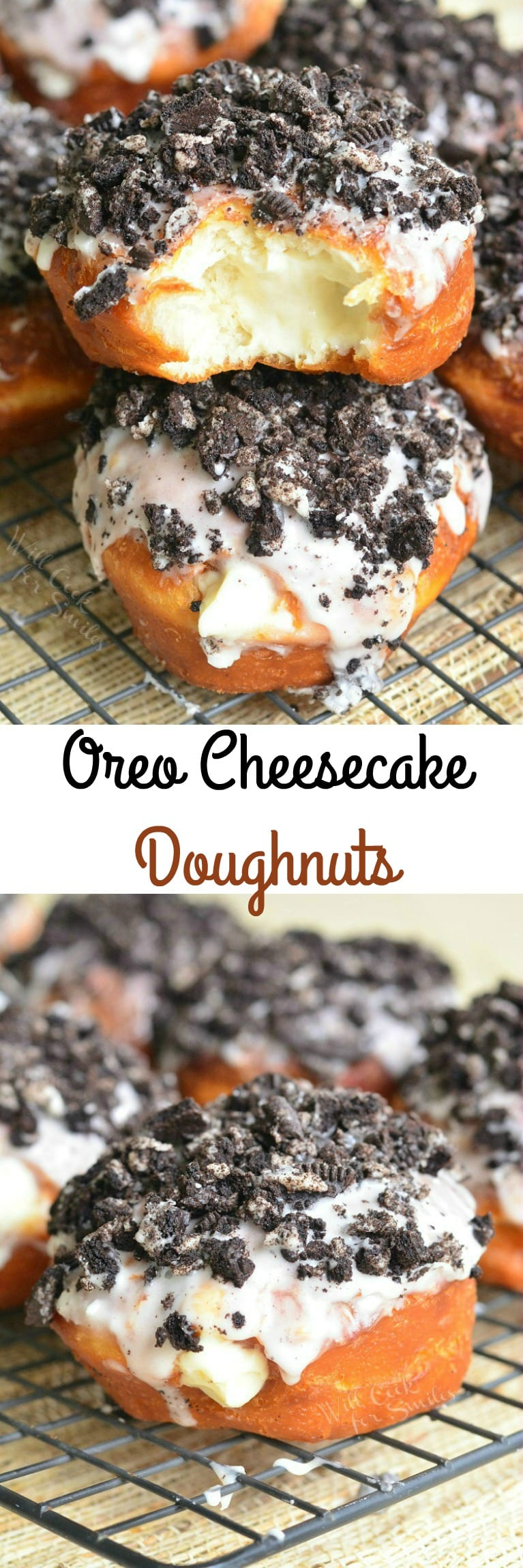 Oreo Cheesecake Doughnuts with crushed oreas on top on a cooling rack
