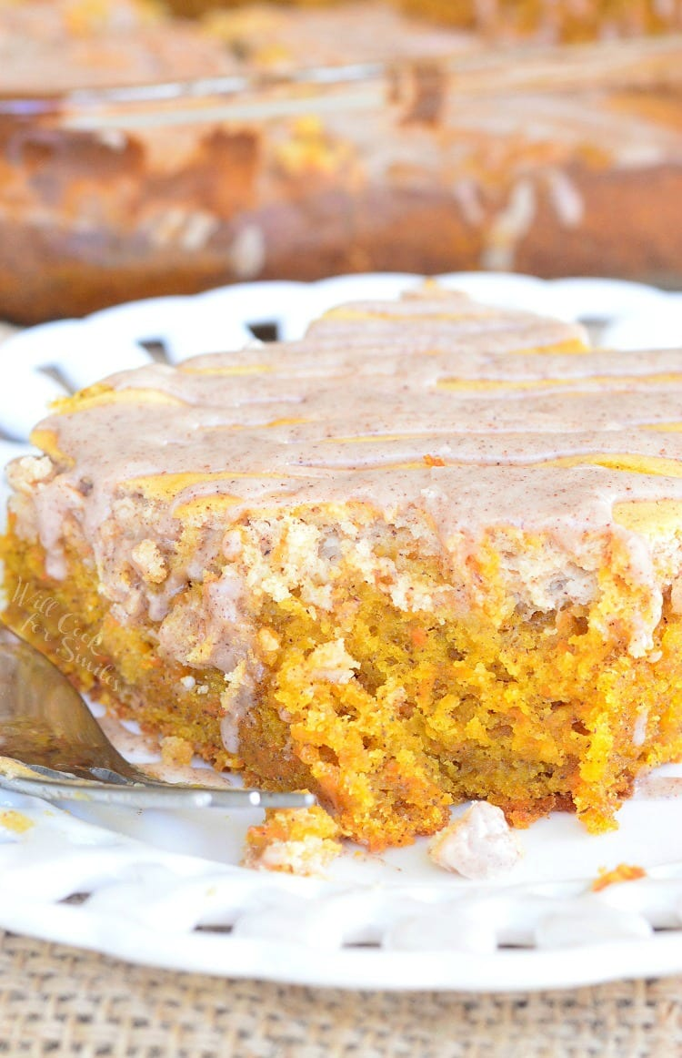Spiced Cheesecake Swirled Carrot Cake | from willcookforsmiles.com