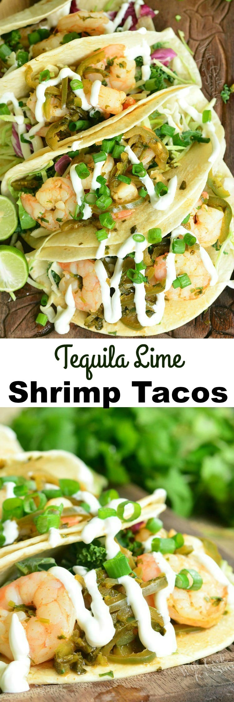 Top view of tequila Lime Shrimp Tacos with sour cream and green onions on top