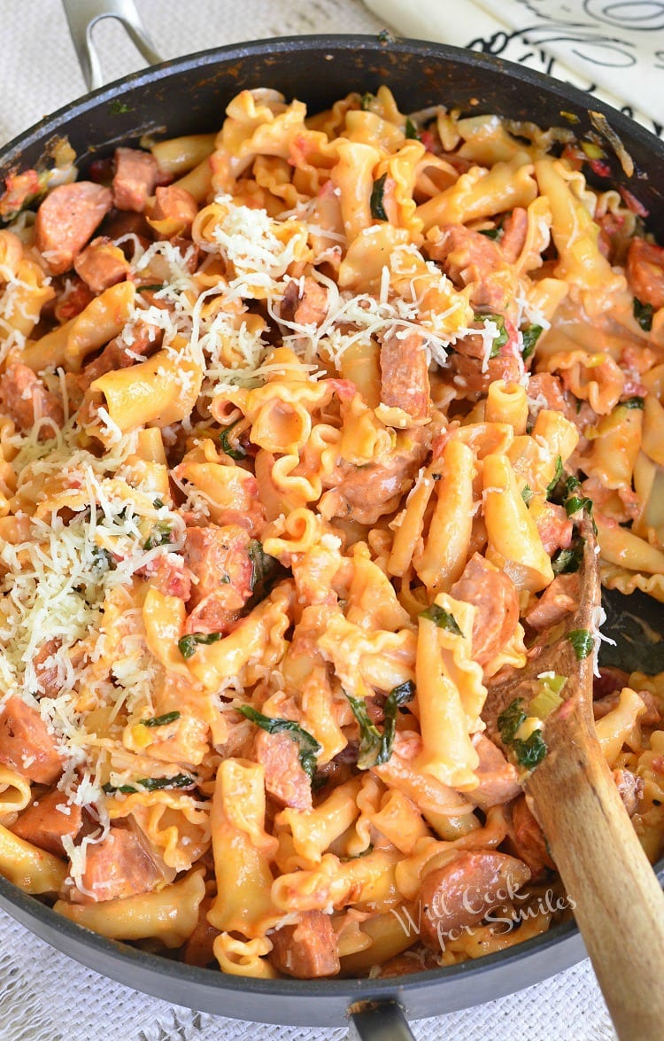Tomato Basil Sausage and Pasta Skillet. Amazing pasta dinner that will make you swoon!