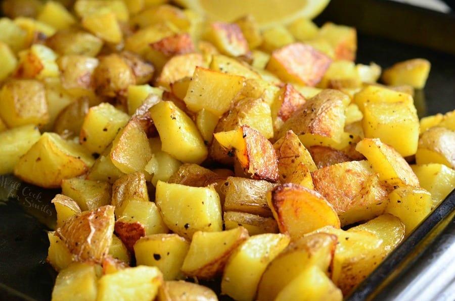 Truffle Lemon Pepper Roasted Potatoes 4 from willcookforsmiles.com