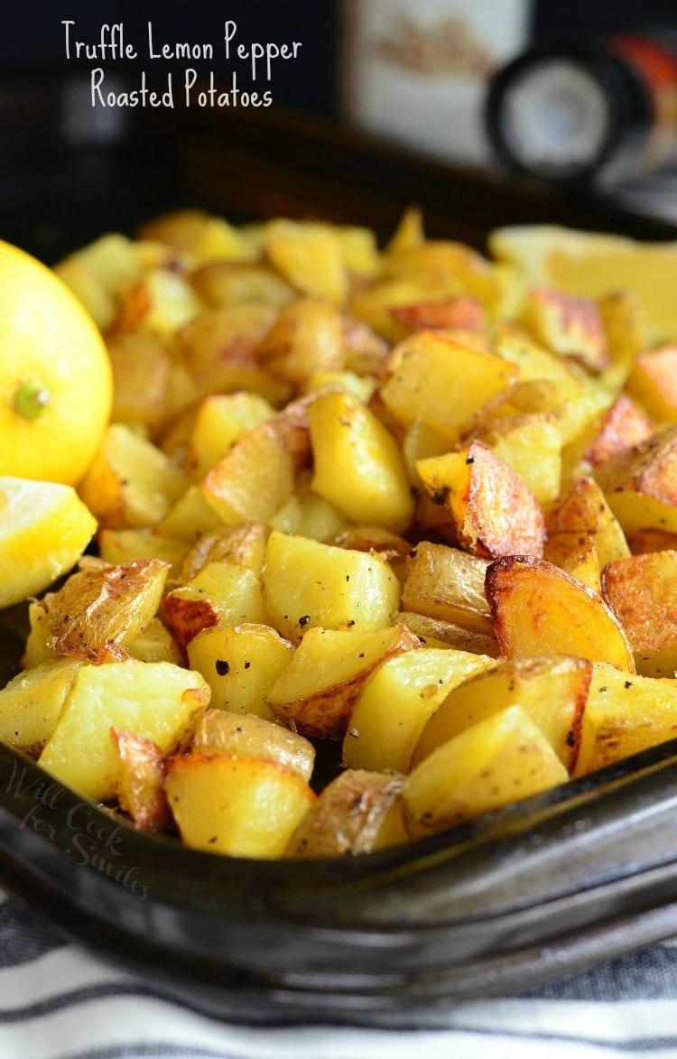 Truffle Lemon Pepper Roasted Potatoes | from willcookforsmiles.com