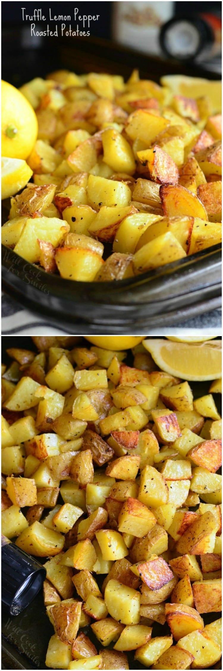 Truffle Lemon Pepper Roasted Potatoes | from willcookforsmiles.com #sidedish #dinner