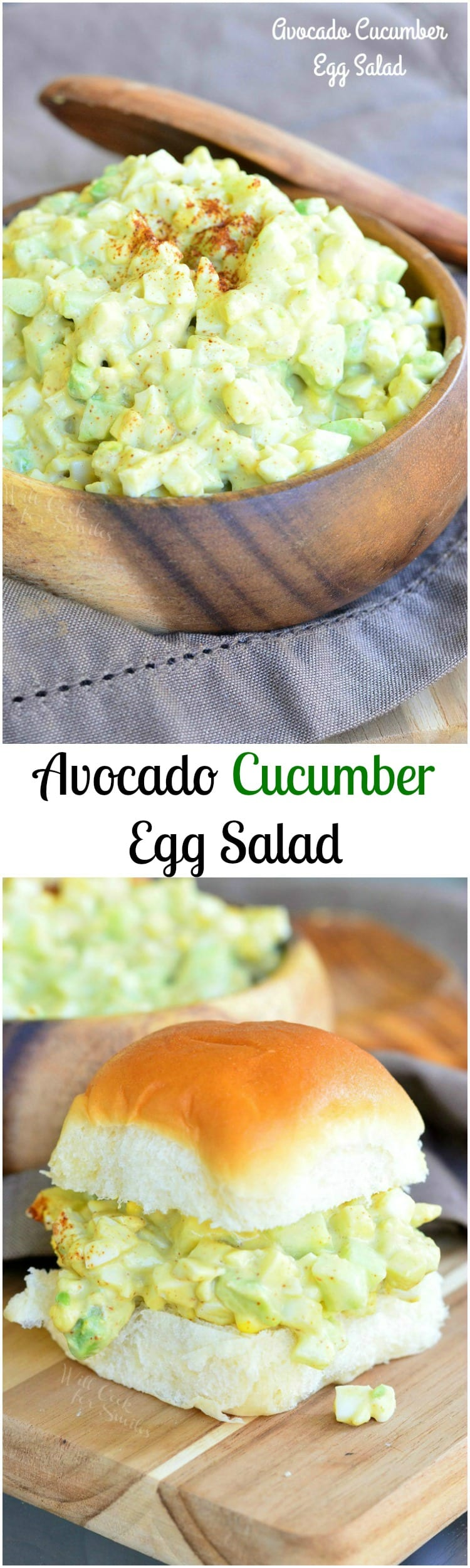 Avocado Cucumber Egg Salad. Creaminess of avocado, crunch of a cucumber, and some paprika for flavor, all comes together in one FANTASTIC egg salad. SO delicious! #eggs
