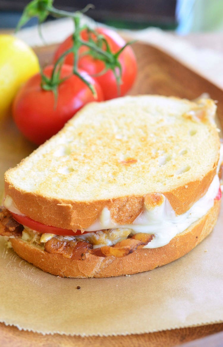 Tomato, Bacon and Crab Grilled Cheese. Finger-licking sandwich created just for SEAFOOD lovers. All your DELICIOUS wishes came true!