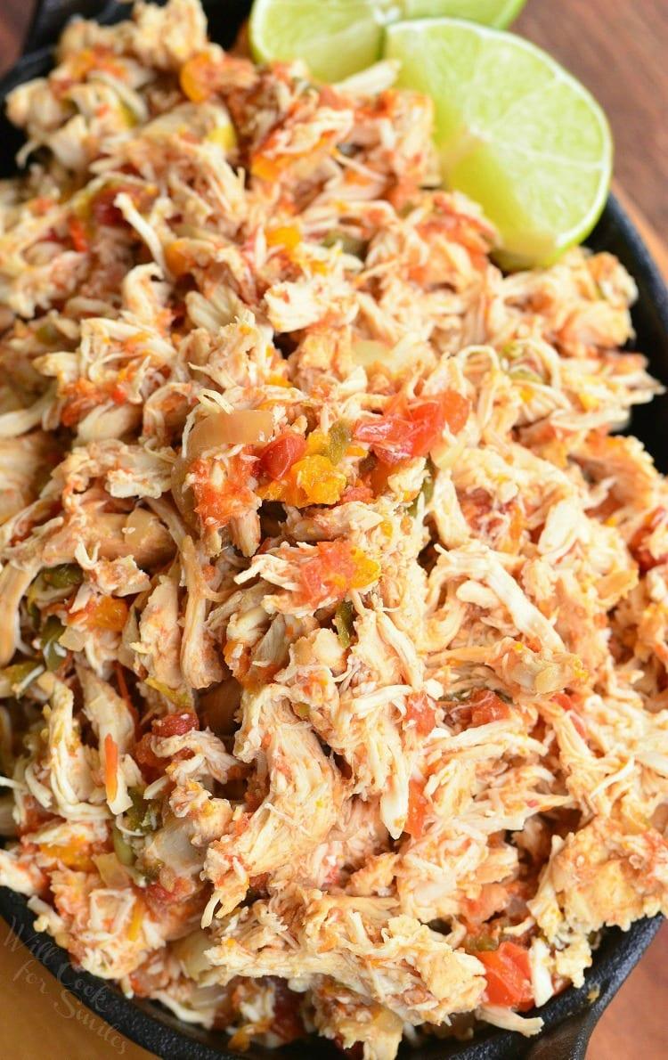 Crock Pot Shredded Salsa Chicken. Juicy, tender, Salsa Chicken cooked in the crock pot with fresh salsa mixture. from willcookforsmiles.com