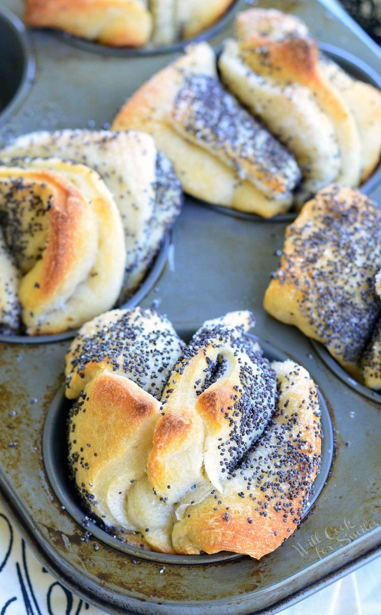 Easy Poppy Seed Pull Apart Muffins | from willcookforsmiles.com