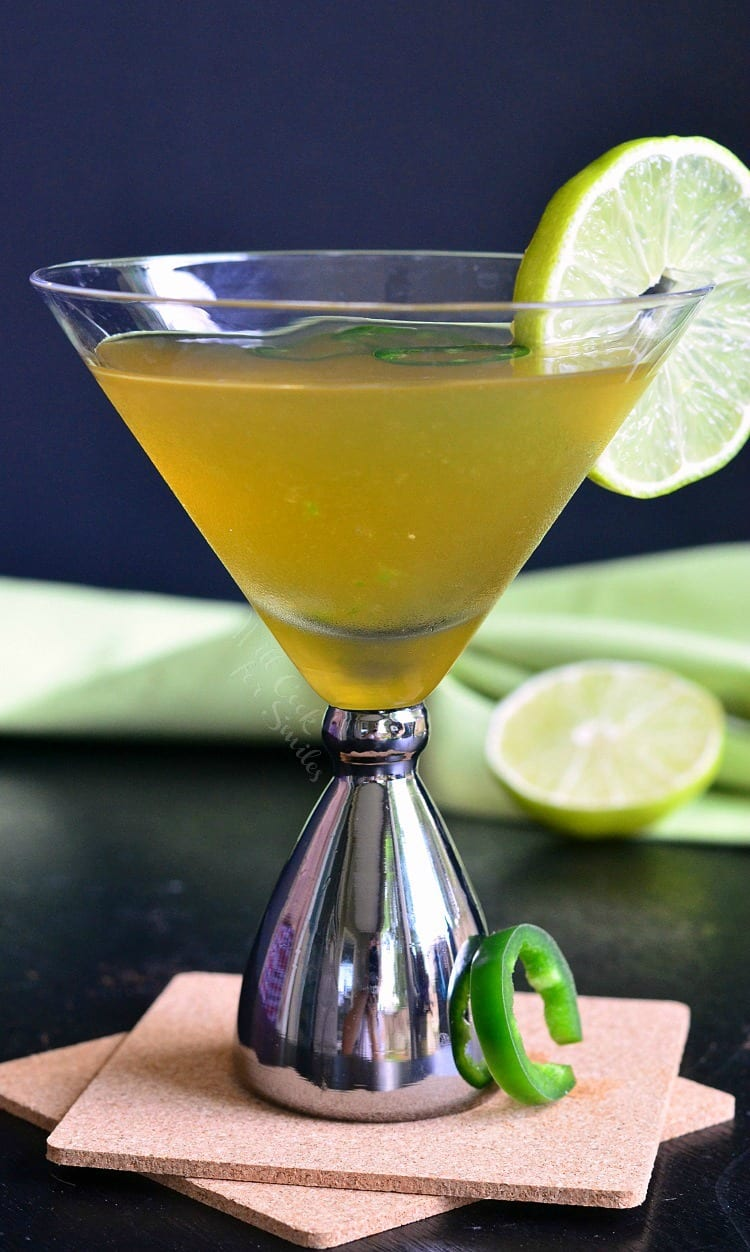 Jalapeno Margatini. PERFECT balance of sweet and spicy in a delicious, margarita inspired martini. Everyone who tried it, LOVED it.