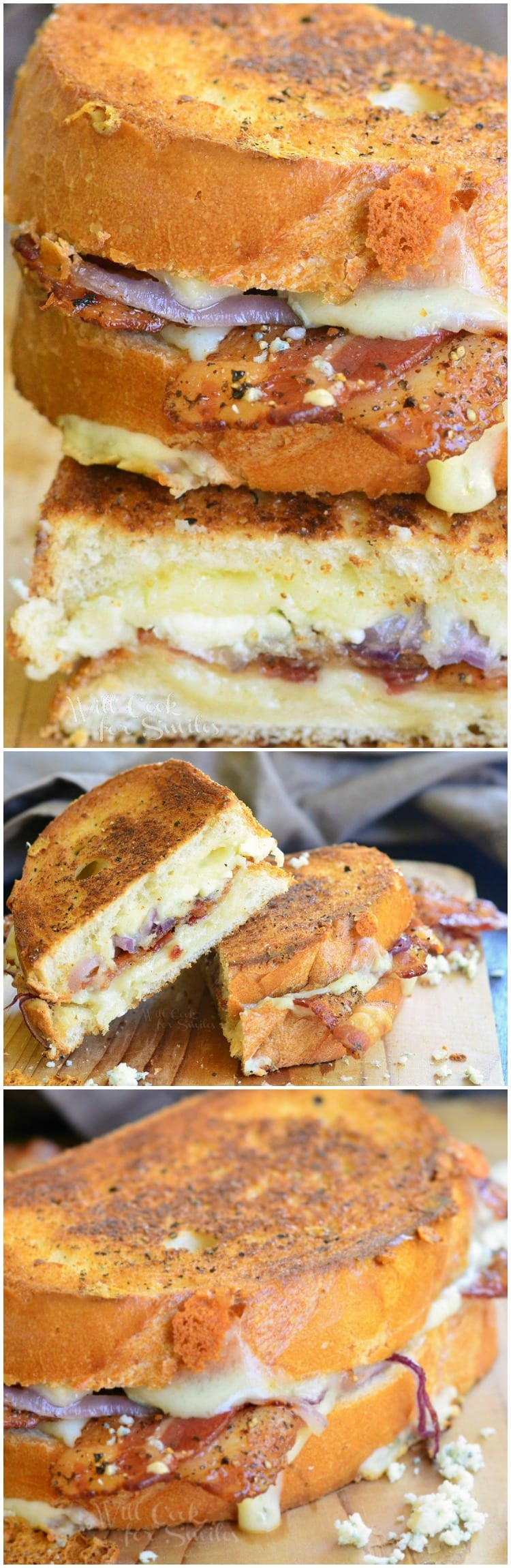 Peppered Bacon and Blue Grilled Cheese. AMAZING grilled cheese that's packed with favorite flavors! #sandwich