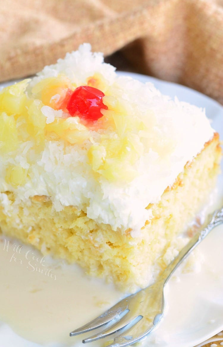 Pina Colada Tres Leches Cake THE BEST cake EVER! from willcookforsmiles.com