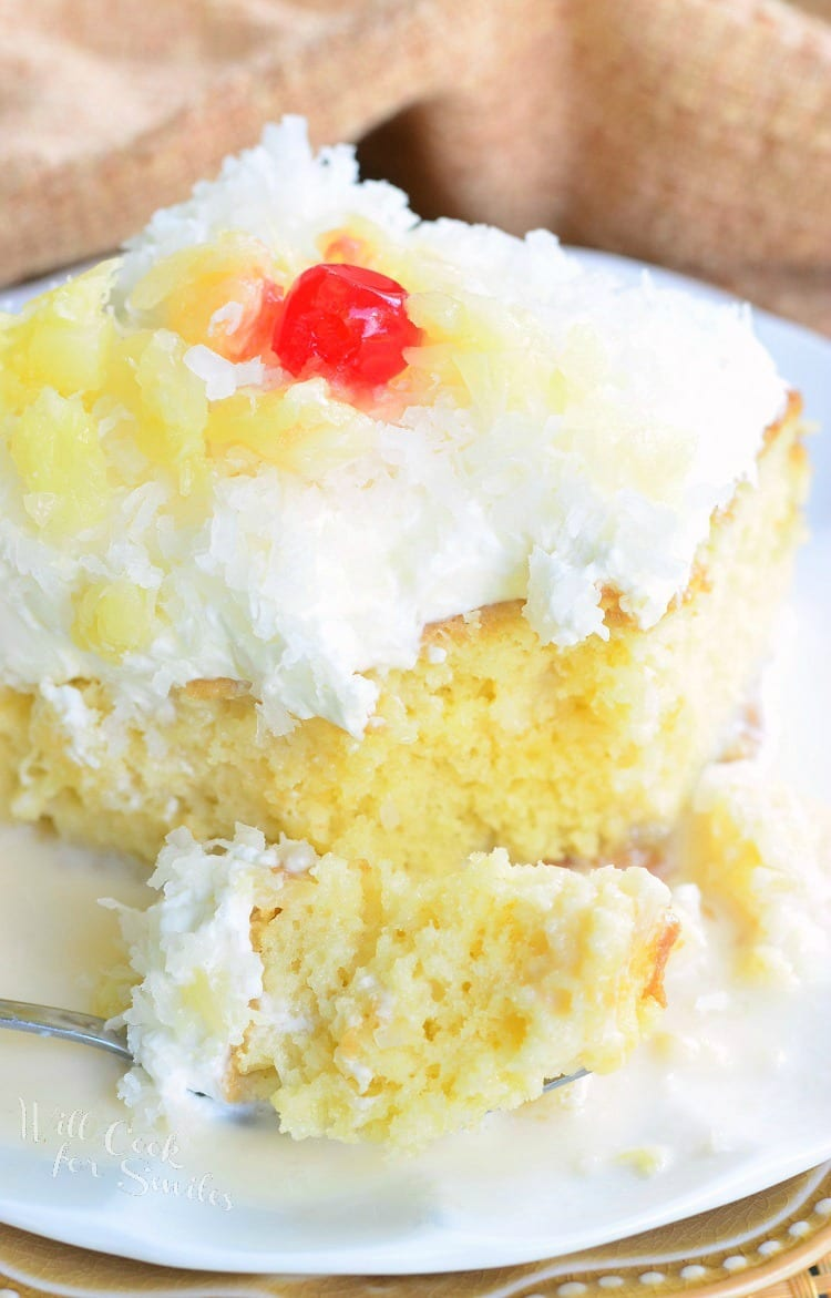 Pina Colada Tres Leches Cake. It's THE BEST cake in the worls! from willcookforsmiles.com