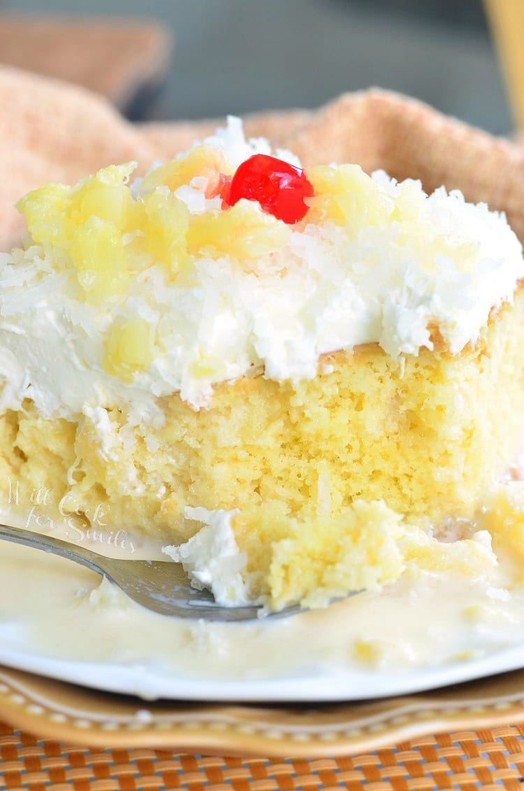 Pina Colada Tres Leches Cake. Soft, sweet milks soaked Tres Leches cake made with the wonderful coconut and pineapple flavors. It's the BEST cake in the world!