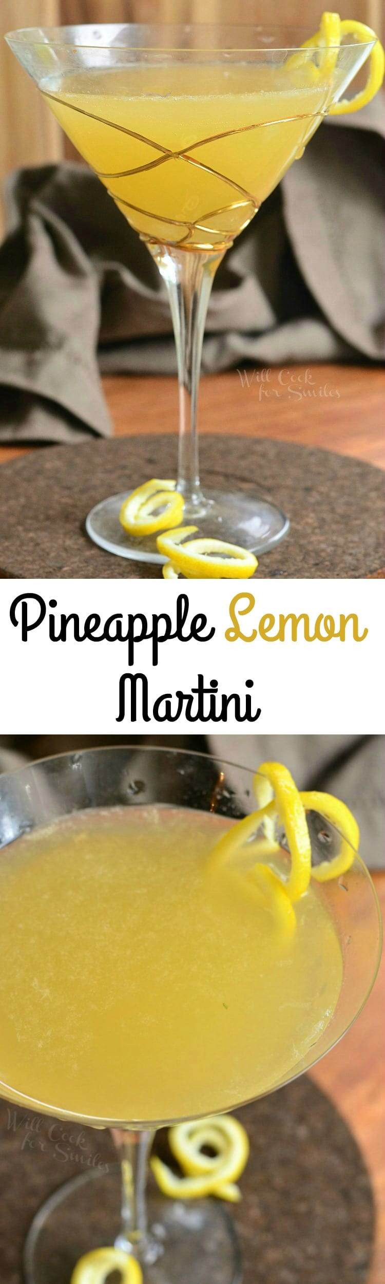 Pineapple Lemon Martini. BEAUTIFUL balance of sweet and sour flavors in a PERFECT summer cocktail. #drink