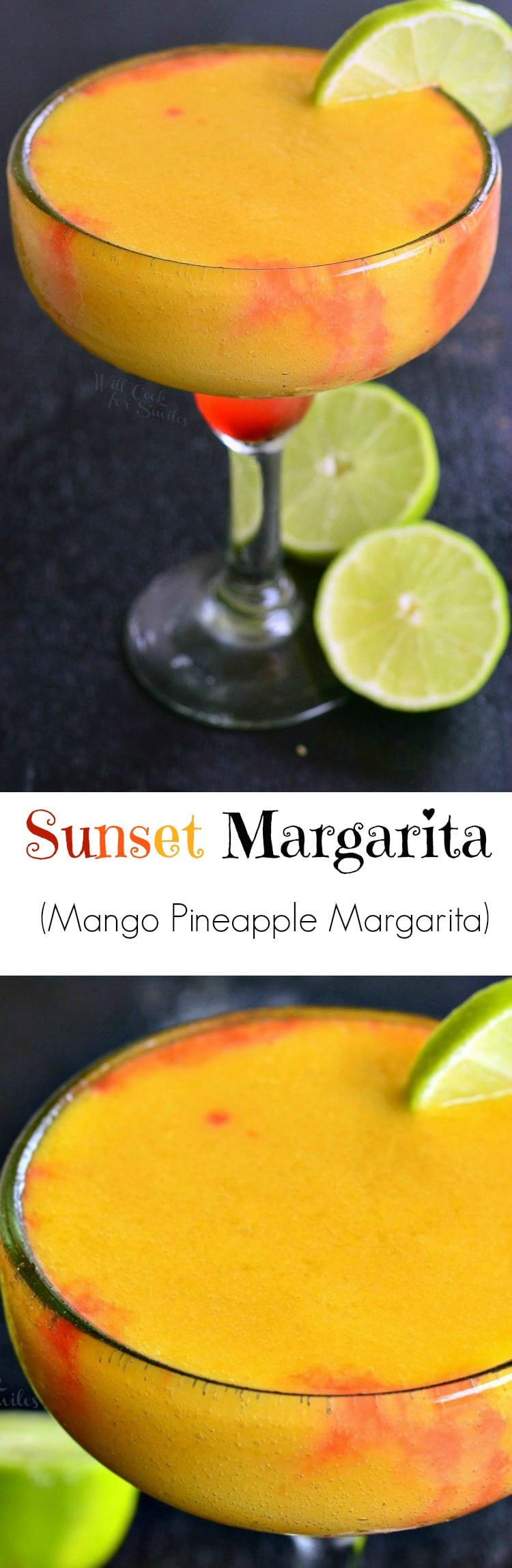 Mango Pineapple Frozen Margarita. Refreshing, sweet, frozen margarita, perfect for any summer celebration. from willcookforsmiles.com