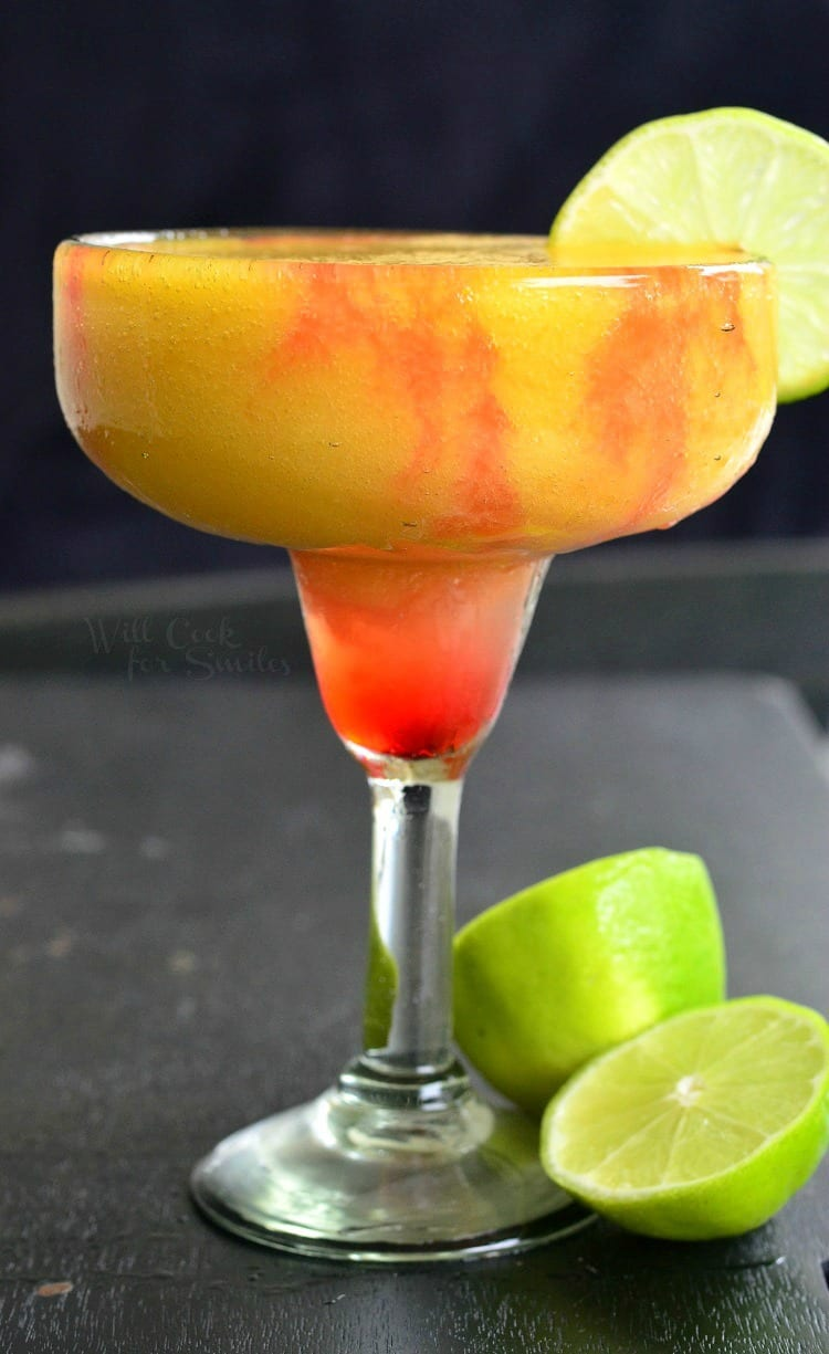Sunset Margarita. Refreshing, sweet frozen margarita, perfect for any summer celebration. from willcookforsmiles.com