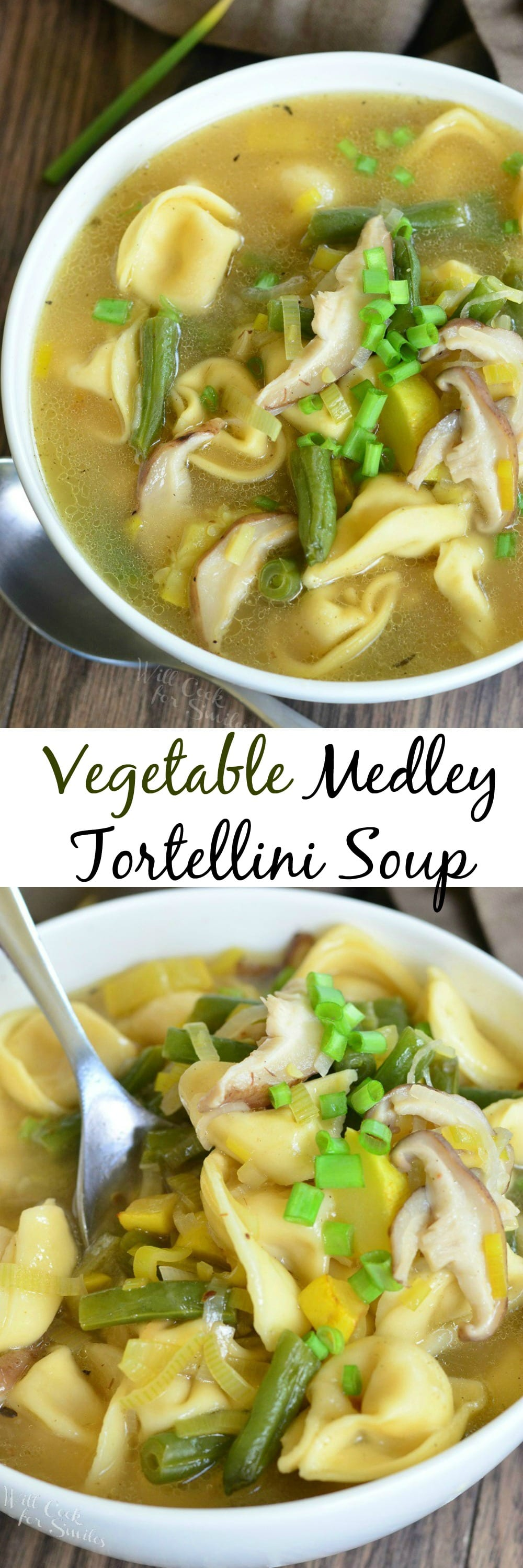 Vegetable Medley Tortellini Soup. Delicious flavor combination of veggies in a easy, satisfying soup that warms our body and soul. willcookforsmiles.com