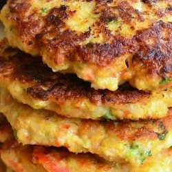 5 avocado shrimp burgers stacked as viewed close up