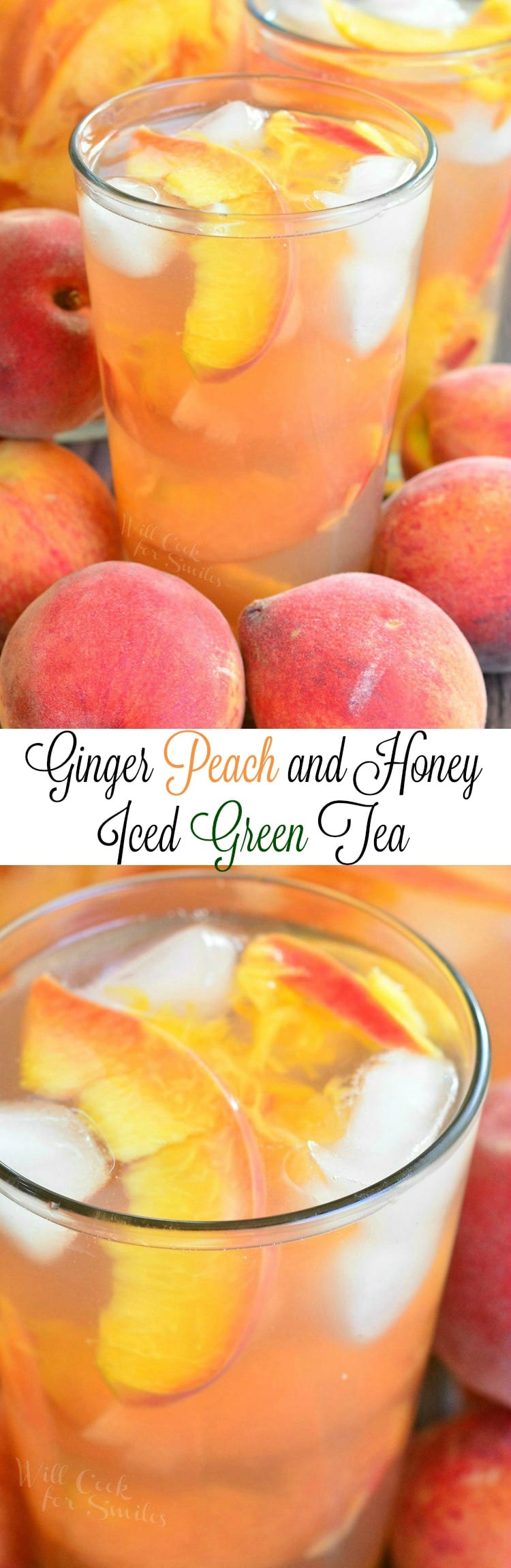 Ginger Peach and Honey Iced Green Tea. Beautiful, mild and refreshing drink to enjoy on these lazy summer days.