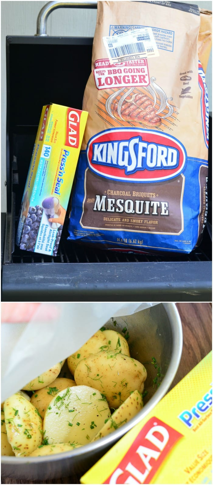 a box of Glad press and seal and a bag of kingsford mesquite charcoal