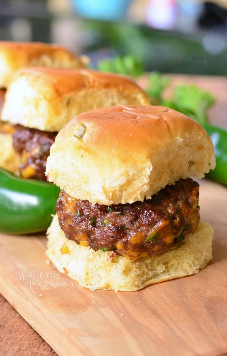 Jalapeno Cheddar Sliders | from willcookforsmiles.com