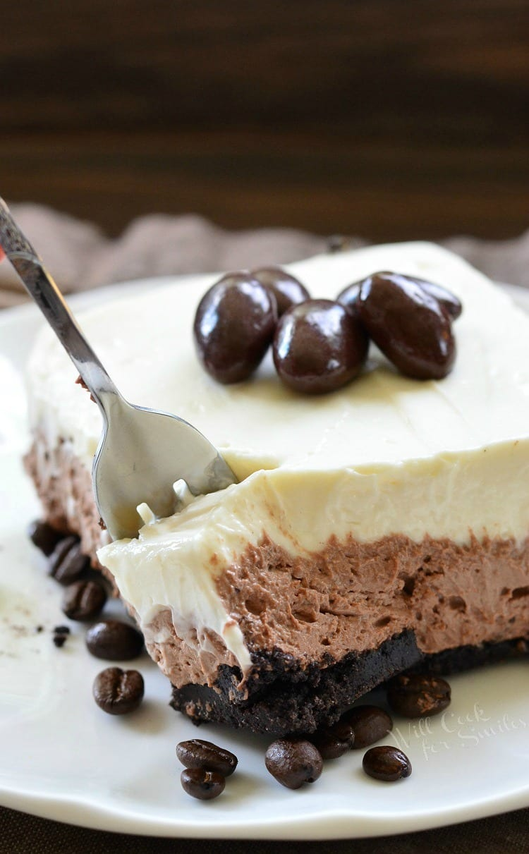Layered Chocolate Espresso Cheesecake Dessert (No Bake) - Will Cook ...