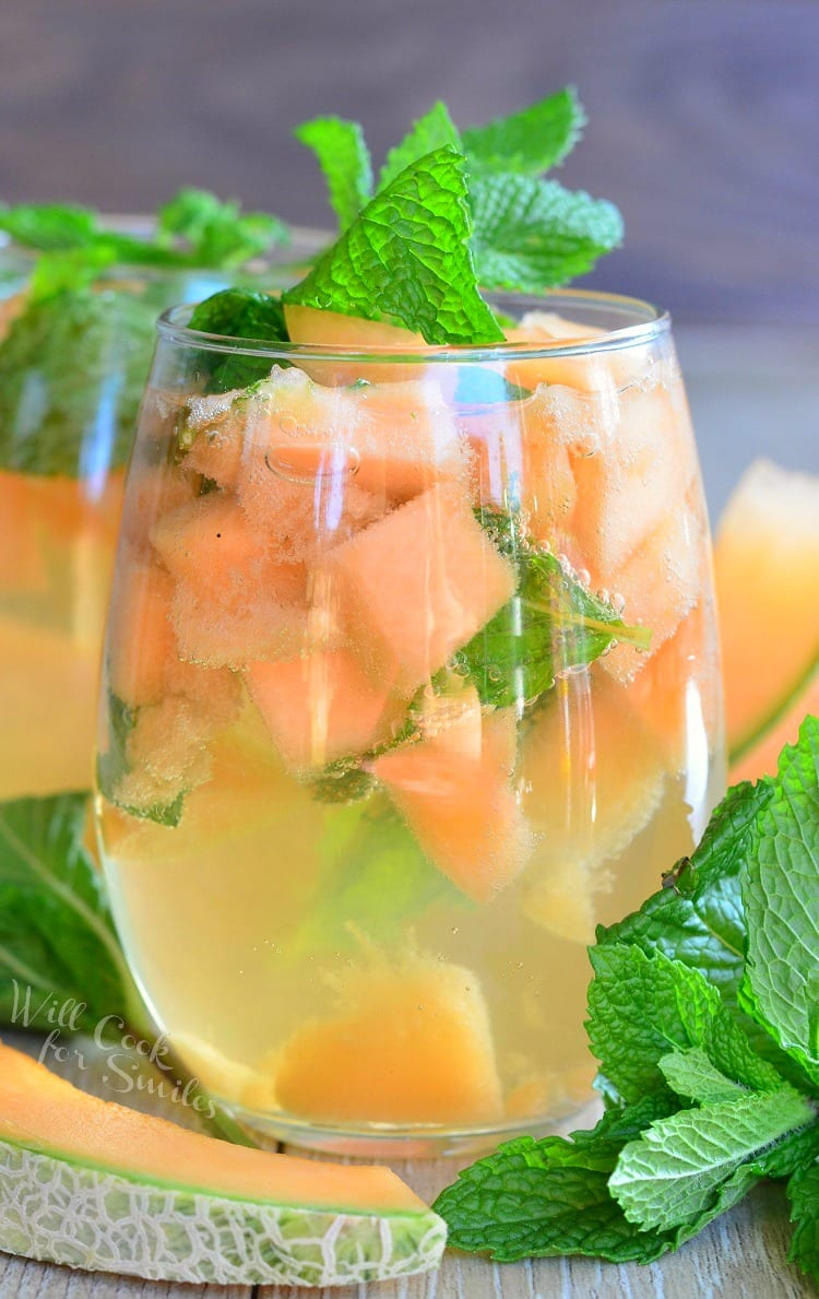 Melon Mint Wine Spritzer| from willcookforsmiles.com