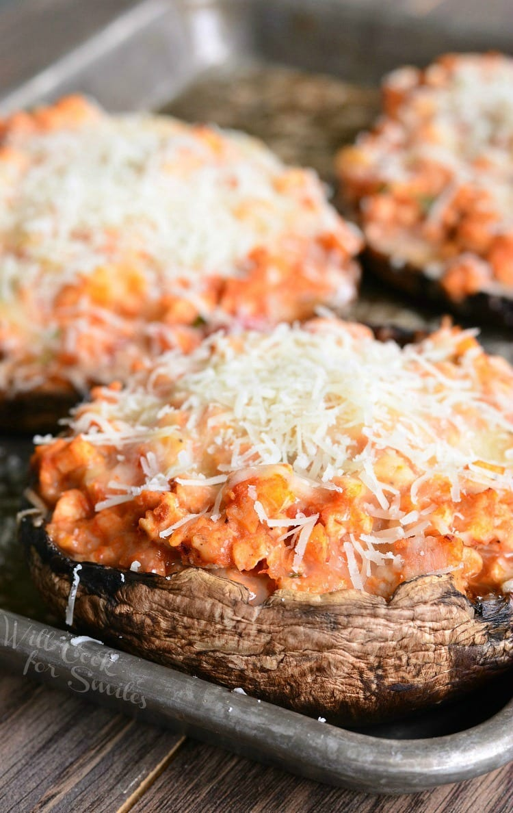 Chicken Parmesan Stuffed Portobello. Juicy, large portobello mushroom caps are stuffed with a classic mixture of chicken, pasta sauce, basil, and lots of cheese.