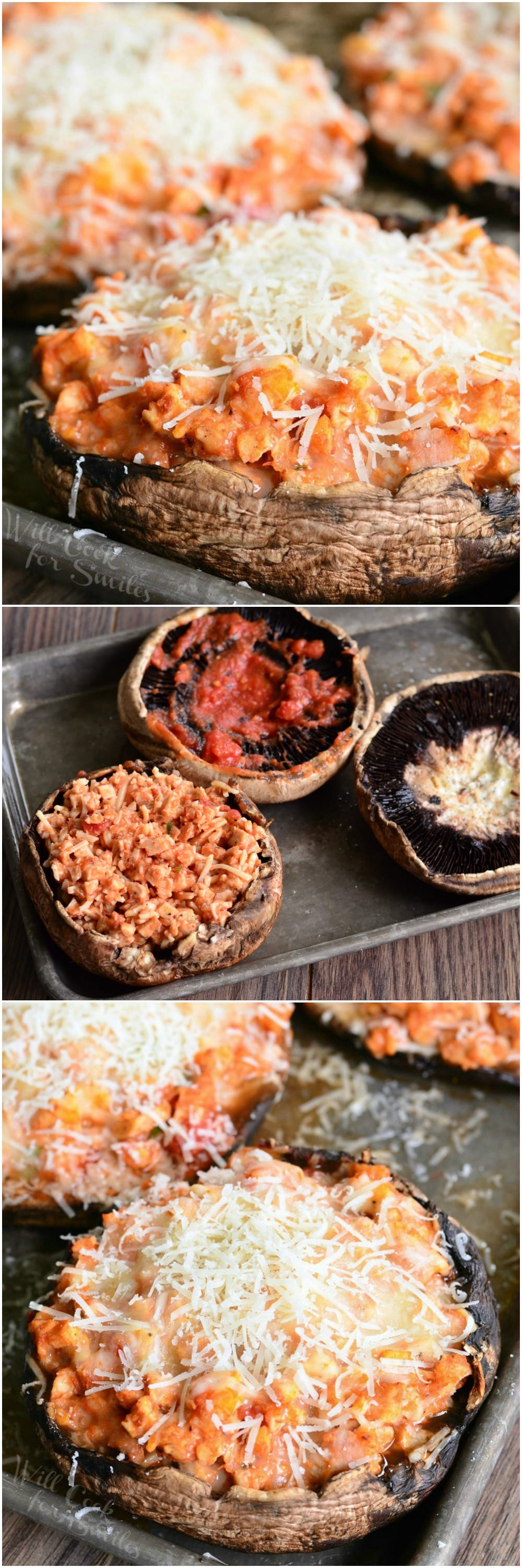 Chicken Parmesan Stuffed Portobello. Absolutely delicious, LIGHT take on a classic Chicken Parmesan dish.
