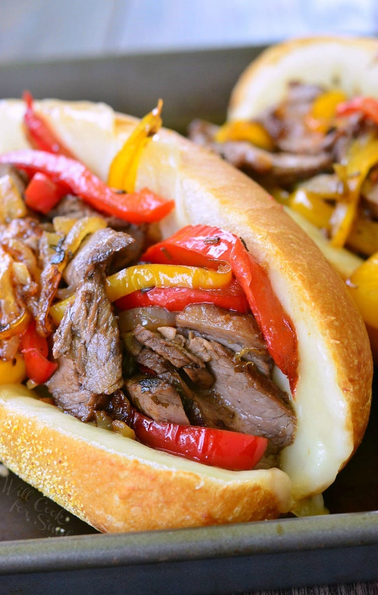 Fajita Philly Steak Sandwich with steak, red and yellow bell peppers, with onions on a hoagie roll