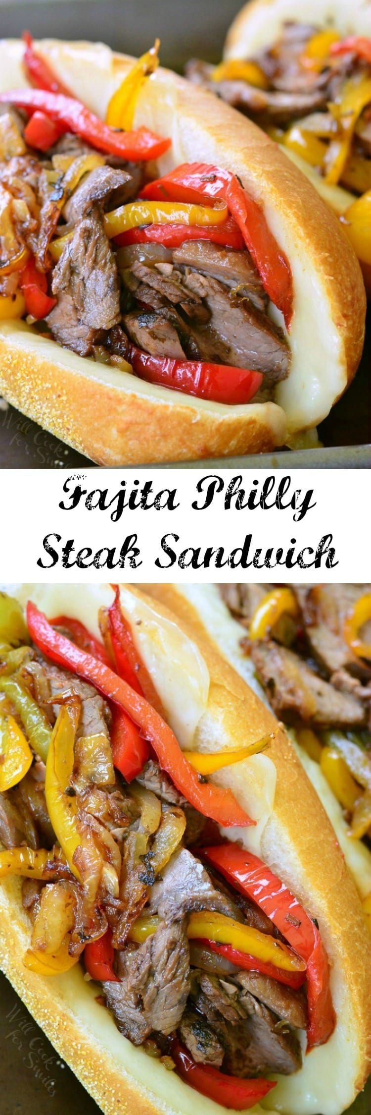 Fajita Philly Steak Sandwich. Steak and veggies cooked in a flavorful marinade, combined with some gooey cheese, and served on a toasted hoagie roll.
