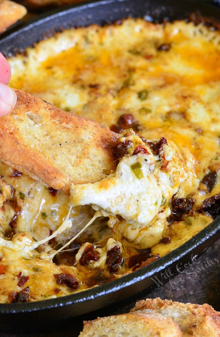 Smokey Sun-Dried Tomato and Basil Mozzarella Dip. This AMAZING dip is made on a grill with adition of smoke. (It can easily be made in an oven as well.)