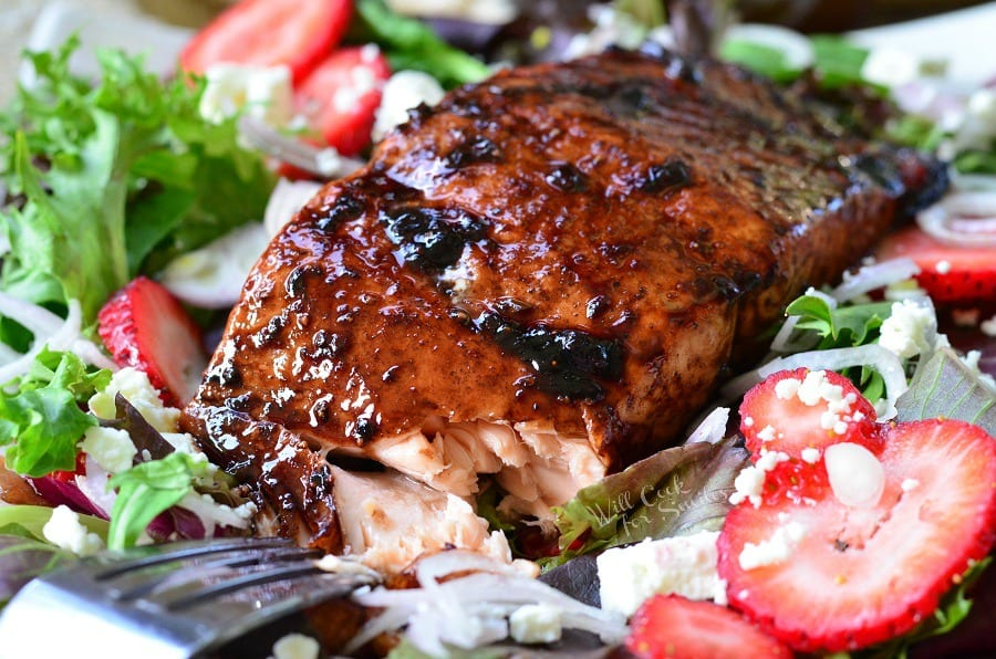 Strawberry Balsamic Glazed Salmon Salad