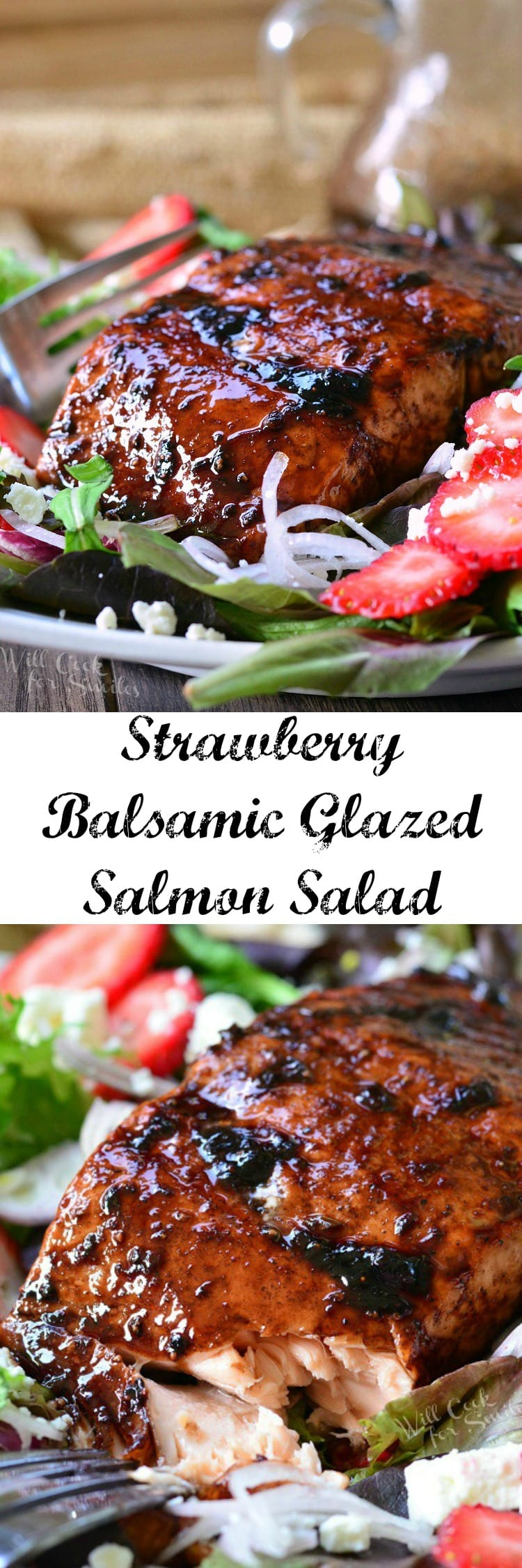 Strawberry Balsamic Glazed Salmon Salad. Summer salad does not get better than this! Succulent baked salmon glazed with sweet and tangy strawberry balsamic reduction and served on a fresh salad.