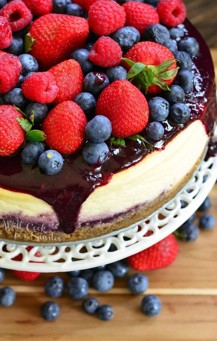 Mixed Berry Cheesecake aka Red, White, and Blue Cheesecake 2 from willcookforsmiles.com
