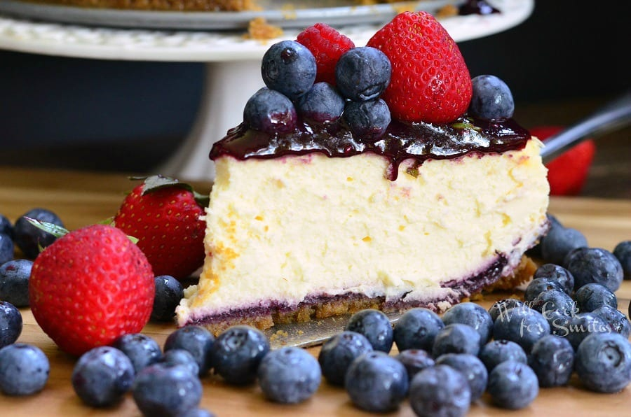 Mixed Berry Cheesecake aka Red, White, and Blue Cheesecake 6 from willcookforsmiles.com
