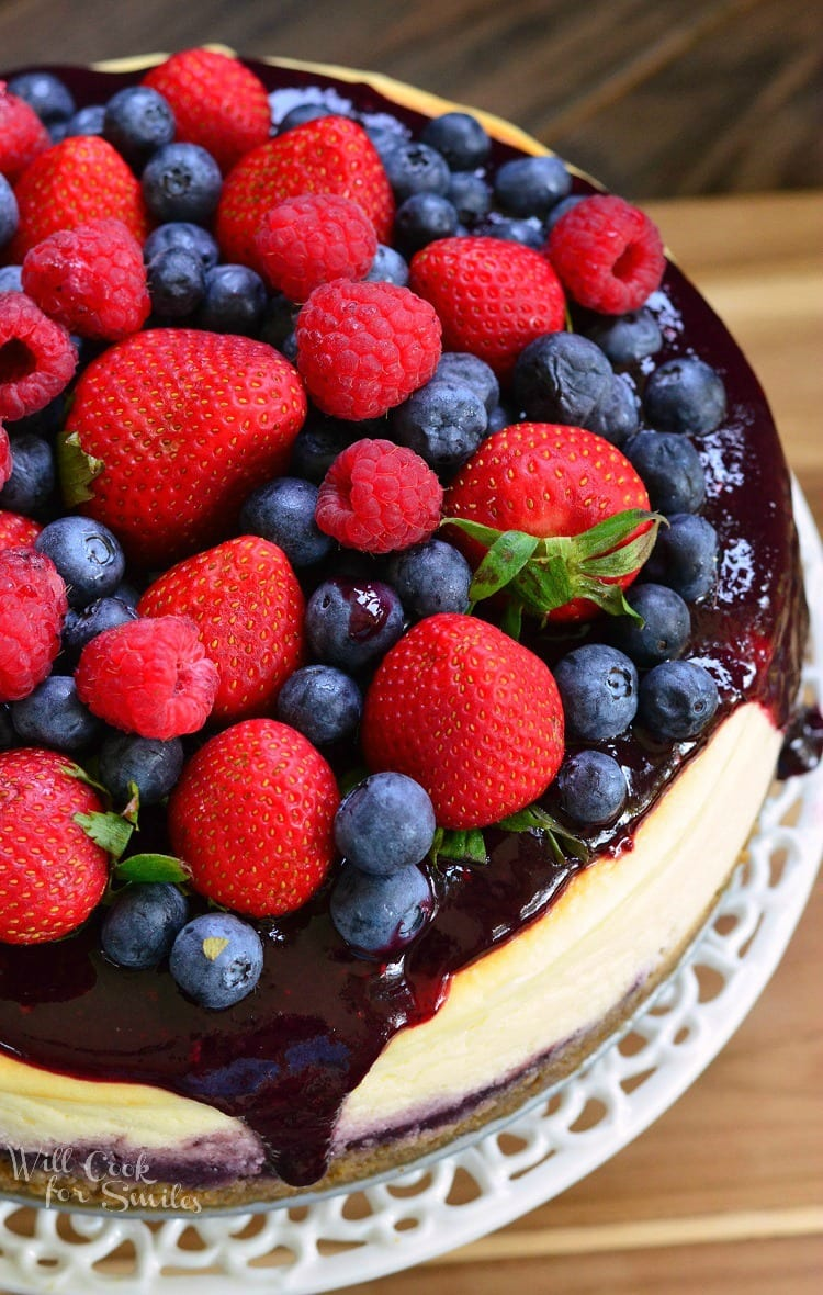 Mixed Berry Cheesecake aka Red, White, and Blue Cheesecake from willcookforsmiles.com