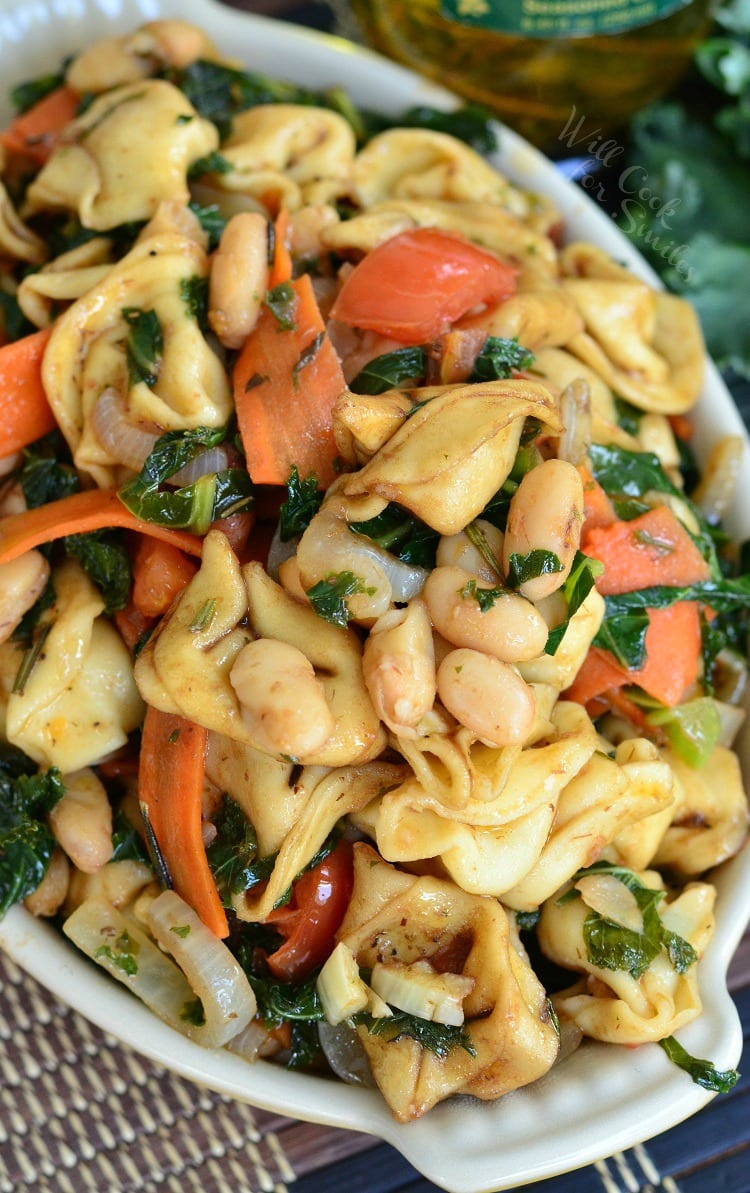 Tuscan Tortellini Salad. Wonderful side dish that can be serves warm or cold. Great for barbecue parties.