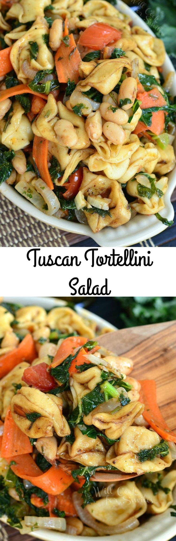 Tuscan Tortellini Salad. Wonderful side dish that can be serves warm or cold. Made in a Tuscan style with beans, kale, tomatoes, carrots, olive oil, balsamic vinegar, and herbs.