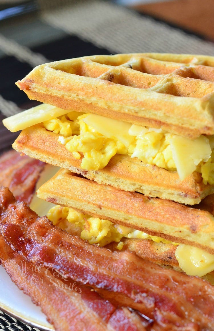 Waffle Breakfast Sandwich with Savory Bacon Waffles with eggs, cheese, and bacon inside