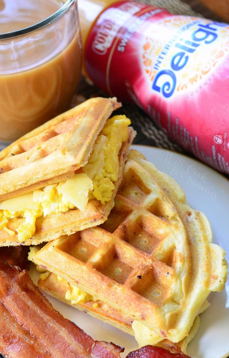 Waffle Breakfast Sandwich with Savory Bacon Waffles