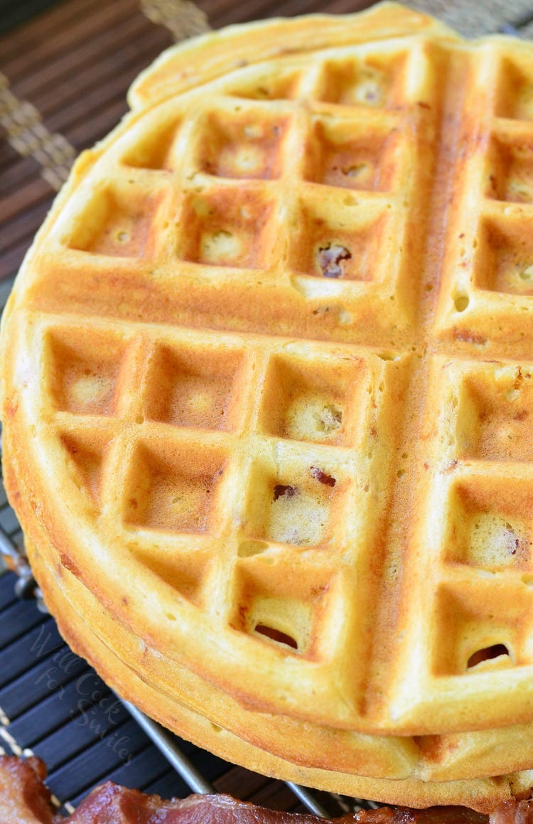 top view photo of Savory Bacon and Onion Waffles