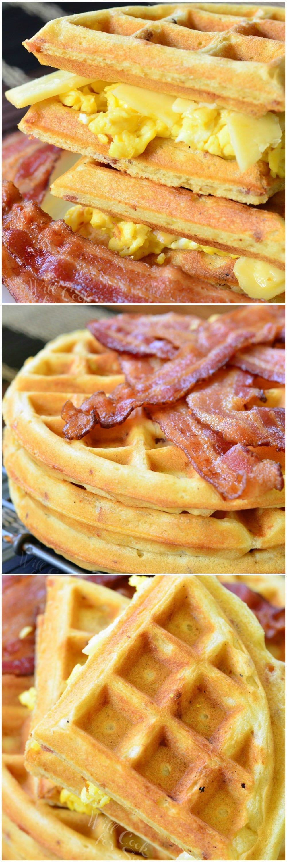 Waffle Breakfast Sandwich with Savory Bacon Waffles collage