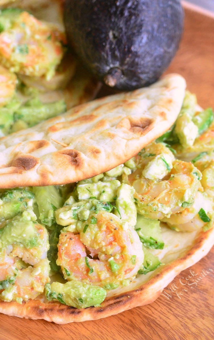 Avocado Shrimp Flatbread Sandwich | from willcookforsmiles.com