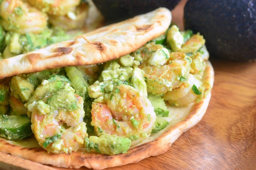 Avocado Shrimp Flatbread Sandwich 6 from willcookforsmiles.com