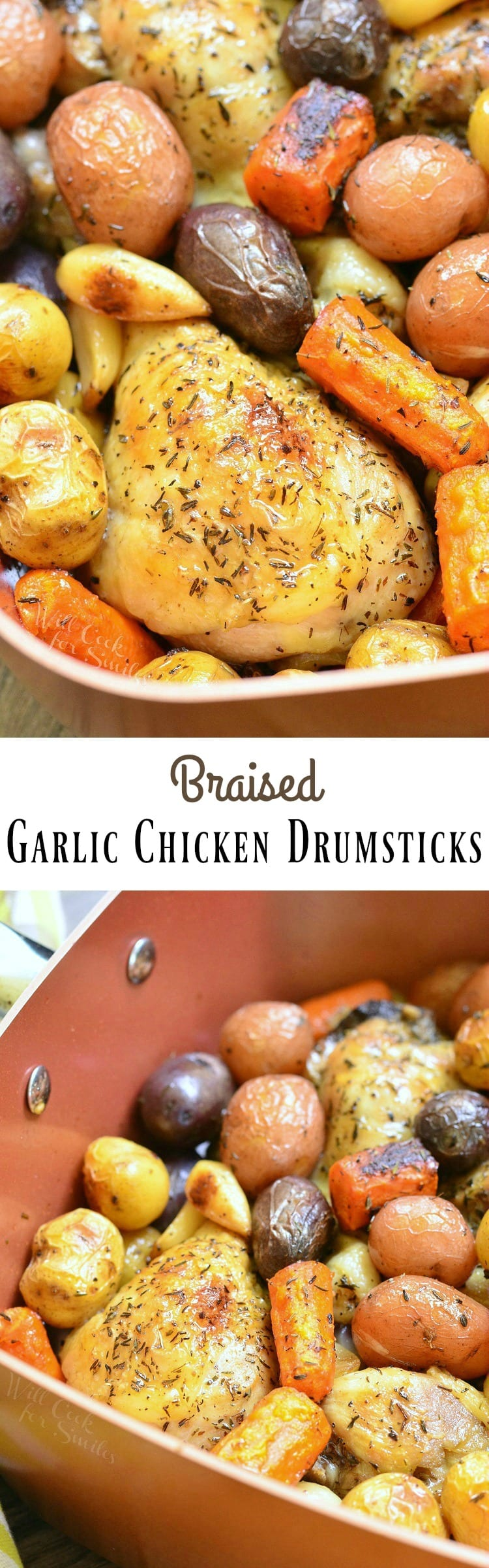 Braised Garlic Chicken Drumsticks. Juicy, tender chicken drumsticks braised and infused with garlic and thyme. Cooked with veggies for a complete, one-pot meal.