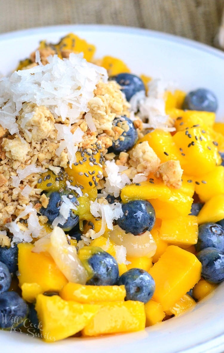 Mango, Lychee and Blueberry Fruit Bowl. Refreshing summer treat that's full of delicate, sweet flavors and a little crunch