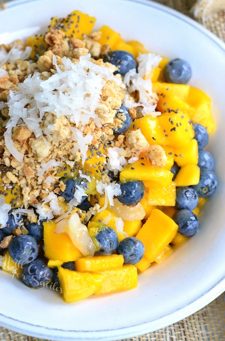 Mango, Lychee and Blueberry Fruit Bowl | from willcookforsmiles.com