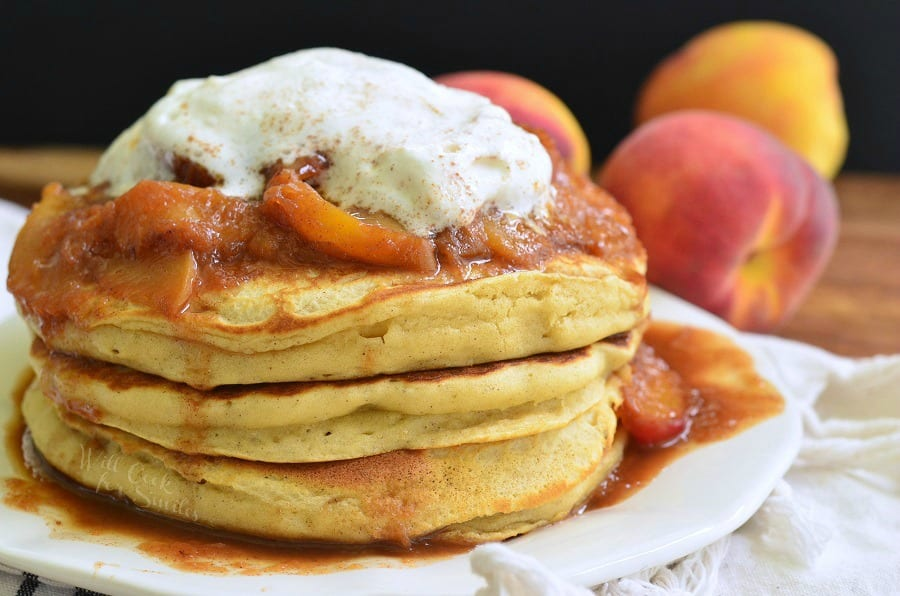 Peaches and Cream Fluffy Buttermilk Pancakes | from willcookforsmiles.com